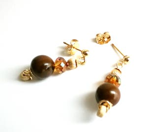 Earrings Tiger Œil and stardust gold