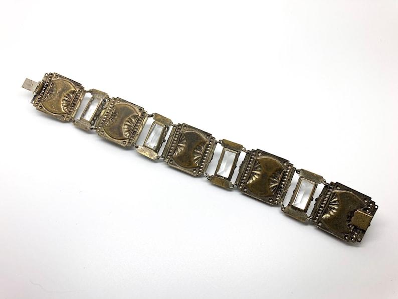 1930 Vintage Czech Bracelet made of Brass and Glass c