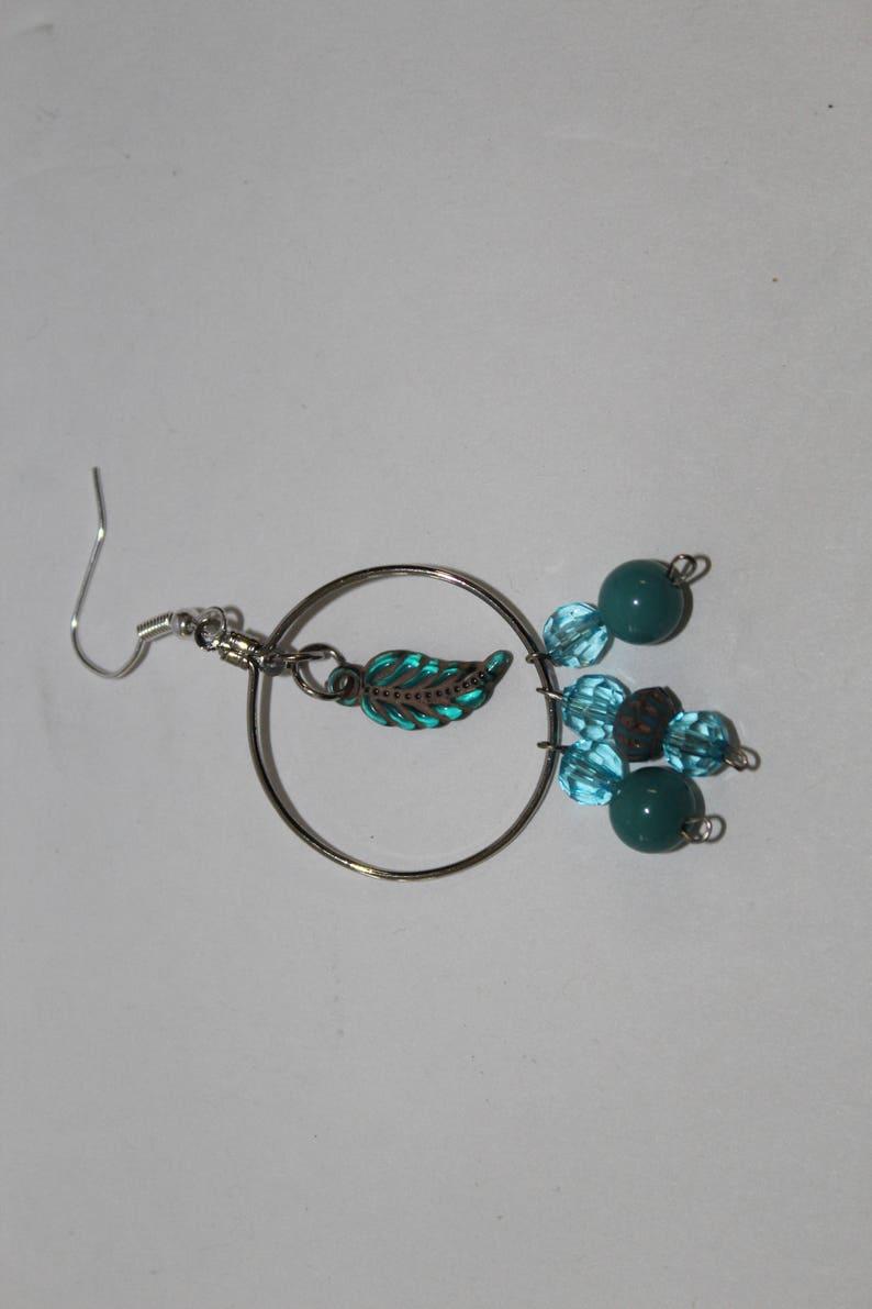 Feather Sea Blue Sliver Fish Hook Hoop Earrings