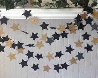 Black and Gold star Garland, Star Wars  Garland, Party garland, Garlands, Stars garland, Graduation decoration. Ready to Ship Garlands.