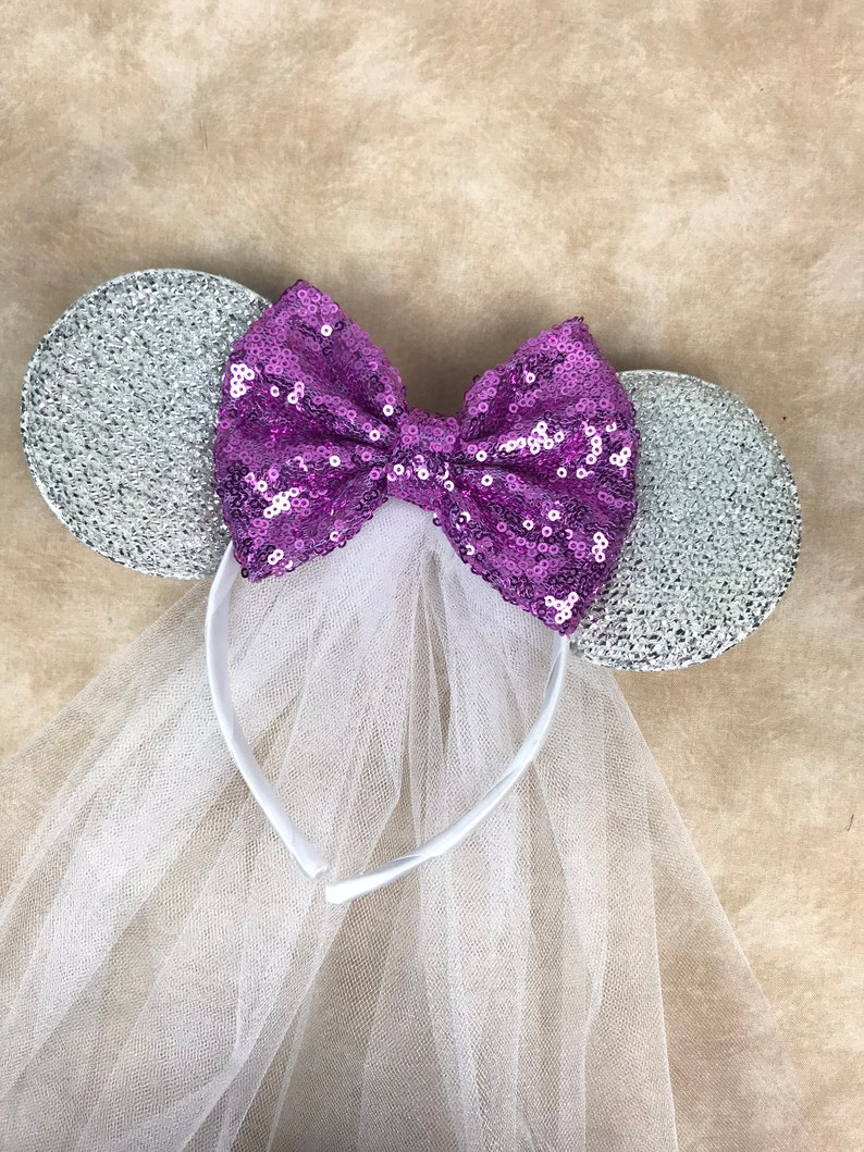 Minnie Mouse Ears Headband Princess Rhinestone Tiara Purple W// Silver Bow Party