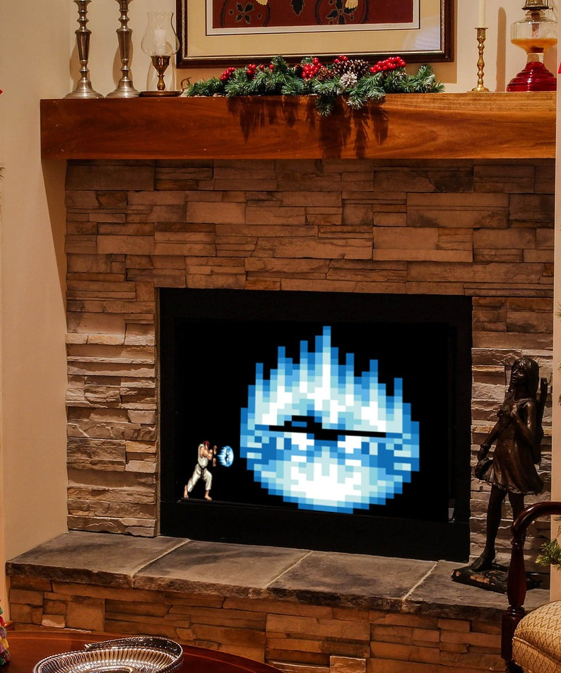 Ryu Hadouken Fireplace Art, Instant Digital Download, Prints up to 40x30