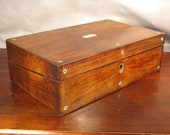 Vintage Antique Victorian Writing Slope or Lap Desk Box Mother of Pearl inlay Rosewood Circa 1850