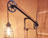 Industrial Pulley Floor Lamp - Metal Pulley Light - Standing Rope Lamp