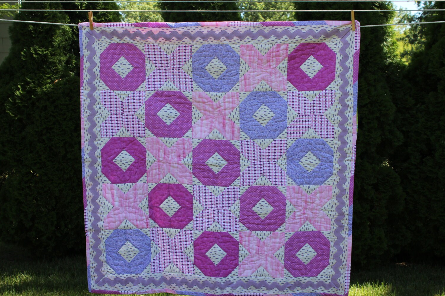 Baby Quilt - Baby Girl Hugs and Kisses Quilt - #BQ-001