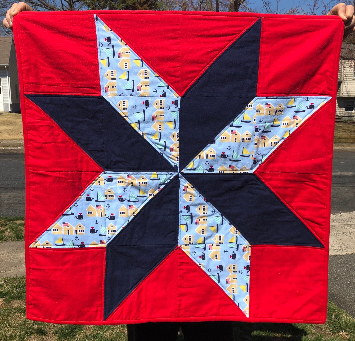 Baby Quilt - Grand Star Whale Flannel (Red) Baby Quilt - #BQ-28