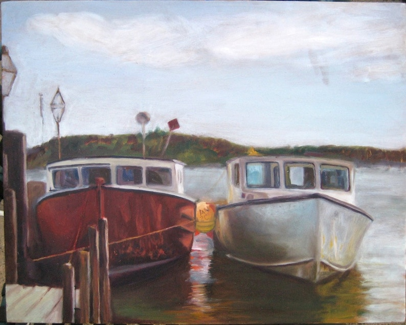 Edgartown Harbor Boats Oil Painting on Martha's Vineyard image 0