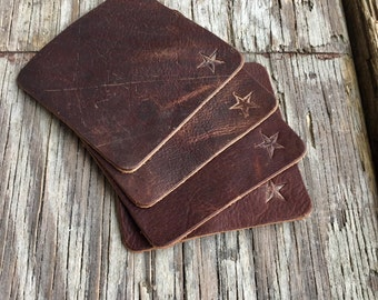 Coasters,leather coasters, bar accessories, drink accessories, 4 pcs