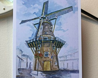 Printed card featuring the windmill in Aalsmeer taken from original watercolour painting