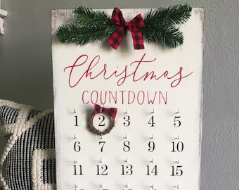 christmas decor christmas countdown christmas sign farmhouse christmas wooden sign holiday decor countdown sign buffalo plaid decor - Farmhouse Christmas Tree Decorations