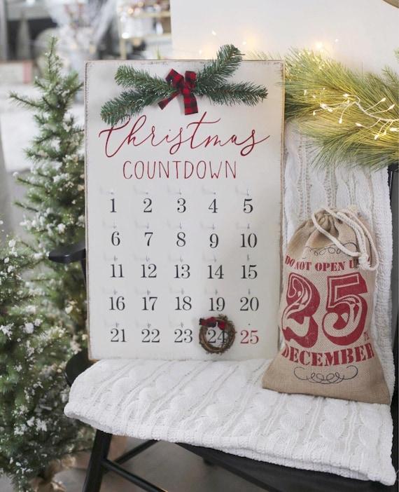 Countdown To Christmas Sign.Christmas Decor Christmas Countdown Christmas Sign Farmhouse Christmas Wooden Sign Holiday Decor Countdown Sign Buffalo Plaid Decor