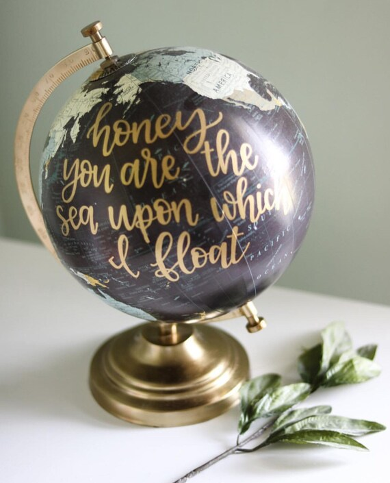 Custom Globe Hand Lettered Globe Personalized Gift Shower Etsy