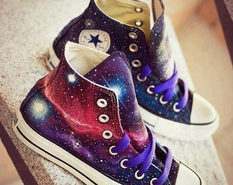 Hand painted Converse galaxy unique canvas shoes couple leisure shoes,Nebula Converse,Galaxy Sneakers , Hi Tops Trainers, Chuck Taylor