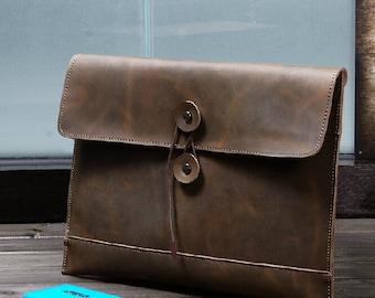 Vintage men's genuine leather business bag envelope bag messenger bag briefcase handbag