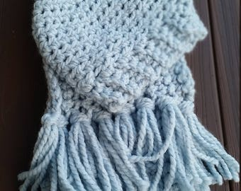 Baby blue hat and scarf set