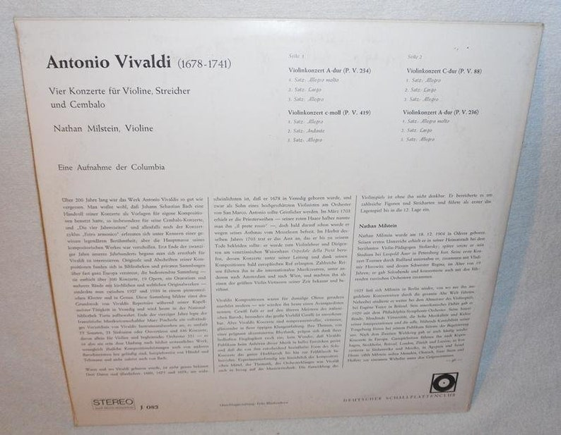 Nathan Milstein-vivaldi-four Violin Concertos-german Recording Club J086