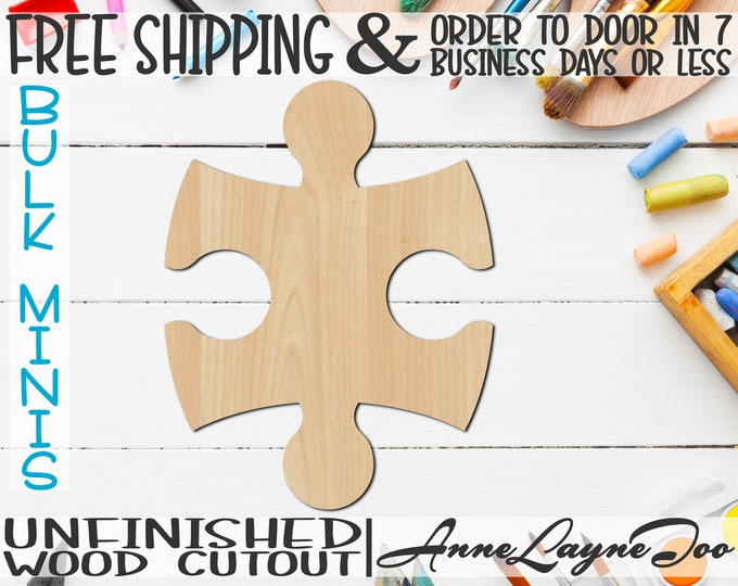 """Interlocking Puzzle Pieces, 2"""" to 8"""" Minis, Small Wood Cutout, unfinished, wood cutout, wood craft, laser cut, wood cut out -300150"""