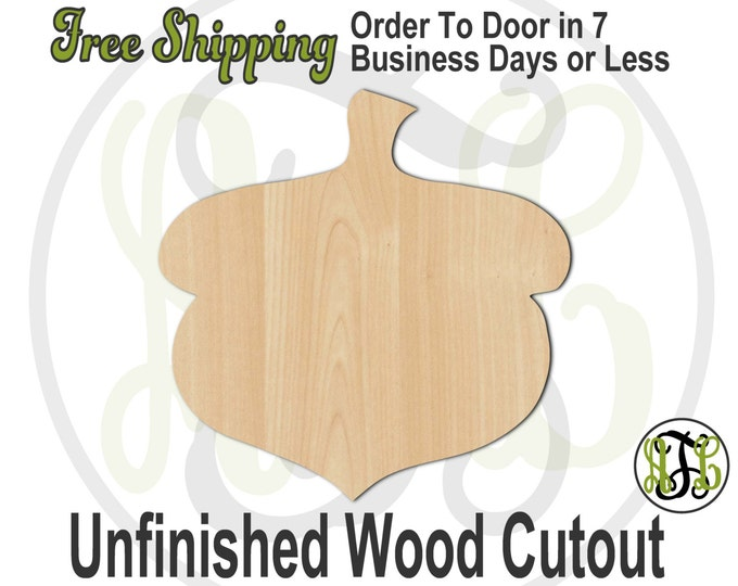 Acorn - 220003- Fall Cutout, unfinished, wood cutout, wood craft, laser cut shape, wood cut out, Door Hanger, wooden, blank