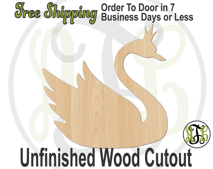 Swan with Crown - 230163- Shower Cutout, unfinished, wood cutout, wood craft, laser cut shape, wood cut out, Door Hanger, wooden, blank