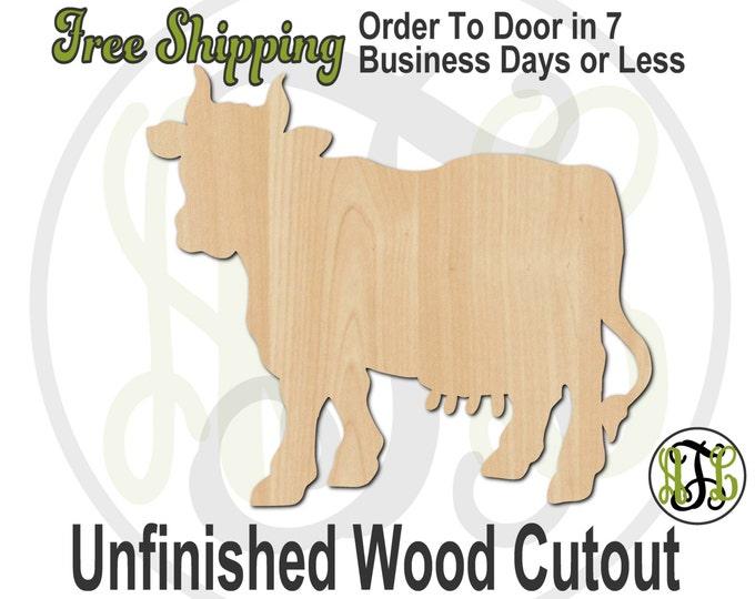 Cow - No. 230044- Farm Cutout, unfinished, wood cutout, wood craft, laser cut shape, wood cut out, Door Hanger, wooden, blank