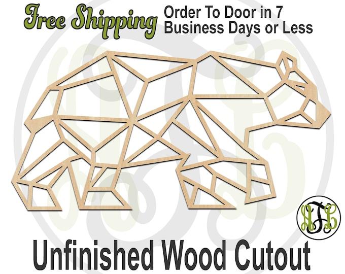 Geometric Bear - 480007- Animal Cutout, unfinished, wood cutout, wood craft, laser cut shape, wood cut out, Door Hanger, wooden, wall art