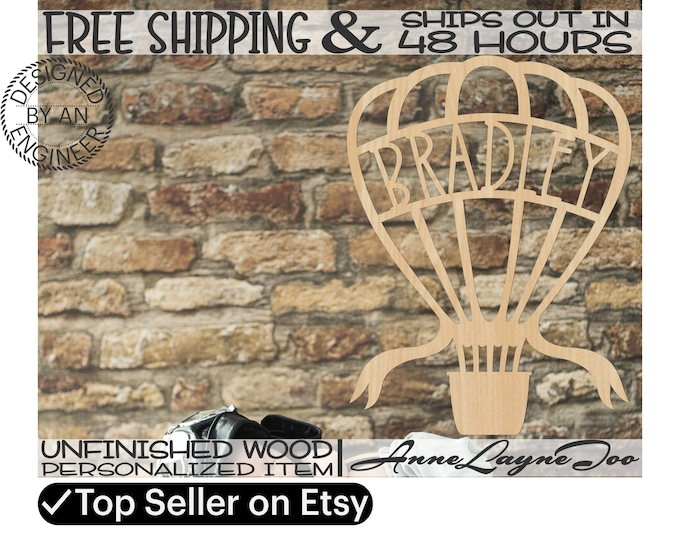 Hot Air Balloon Wood Name Sign, Nursery Wall Art, Baby Shower Decor, unfinished, wood cut out, laser cut, Ships in 48 HOURS -990059NA