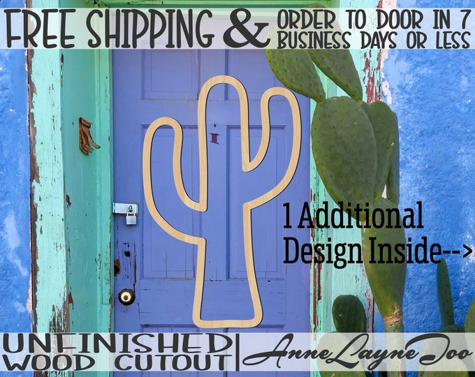 Cactus Solid or Outline Wood Cutout, Cactus Door Hanger, wooden wall art, Succulent Cutout, unfinished, wood cut out, laser cut -300245-46
