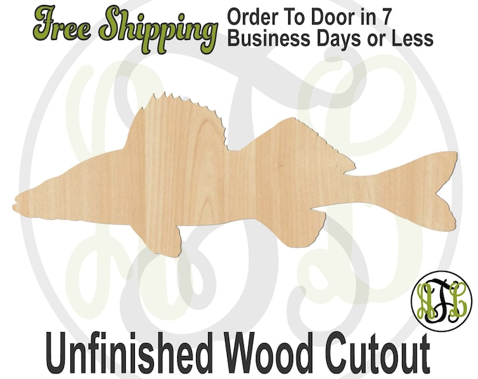 Walleye Fish - 230169- Fish Cutout, unfinished, wood cutout, wood craft, laser cut, Door Hanger, wood cut out, wooden, Fishing, Outdoors
