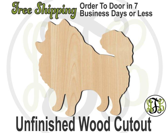 Pomeranian - 230086- Animal Cutout, unfinished, wood cutout, wood craft, laser cut shape, wood cut out, Door Hanger, Dog, wooden, blank