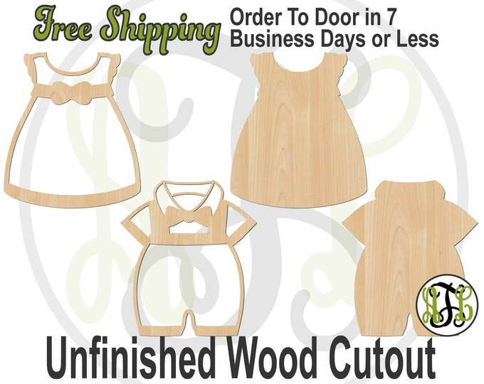 Girl Dress or Boy Romper Wood Cutout, Baby Shower Cutout, wood cut out, Door Hanger, laser cut, unfinished wood cutout- 20016-17or10034-35