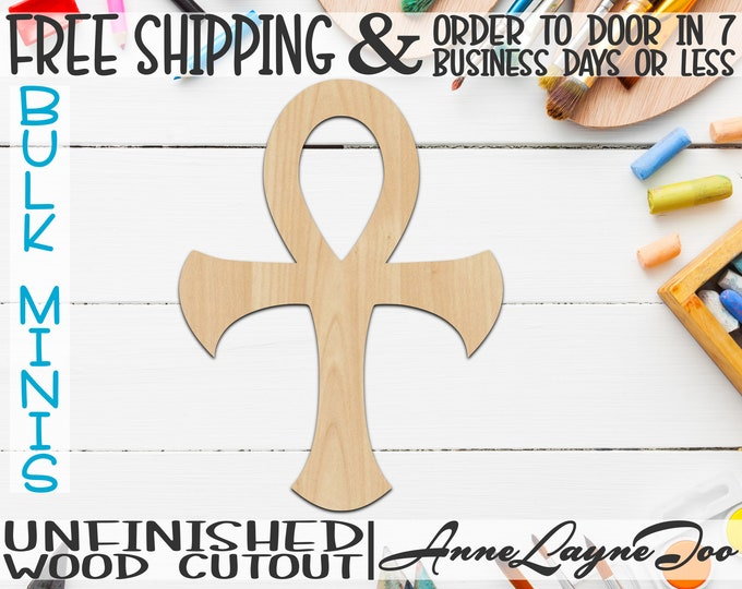 """Cross of Life- 2"""" to 6"""" Minis, Small Wood Cutout, unfinished, wood cutout, wood craft, laser cut, wood cut out, ornament -290016"""