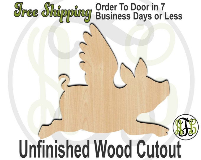 Flying Pig- 230051- Fun Cutout, unfinished, wood cutout, wood craft, laser cut shape, wood cut out, Door Hanger, Animal, wooden, blank