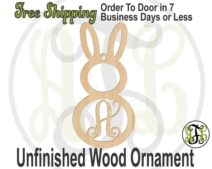 Ornament Bunny 4 Initial, Rustic Unfinished Ornament, wood cutout, laser cut wood,  Car Charm, Memento, Wooden Keepsake- 180020M1-BO