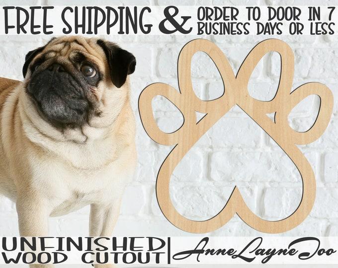 Heart Paw Wood Cutout, Wooden Dog Paw Heart, Dog Bowl Decor, Door Hanger, wooden, wall art, unfinished, wood cut out, laser cut -230174