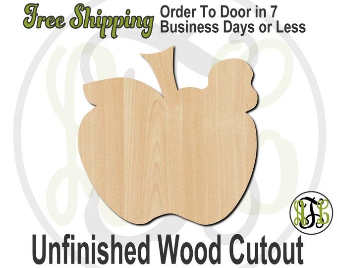 Apple and Worm Wood Cutout, Teacher Door Hanger, Wooden Apple Sign, wood cut out, Door Hanger, laser cut, unfinished wood cutout - 70001