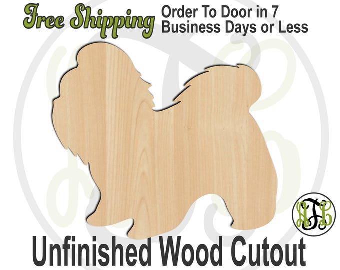 Shih Tzu - 230091- Animal Cutout, unfinished, wood cutout, wood craft, laser cut shape, wood cut out, Door Hanger, Dog, wooden, blank