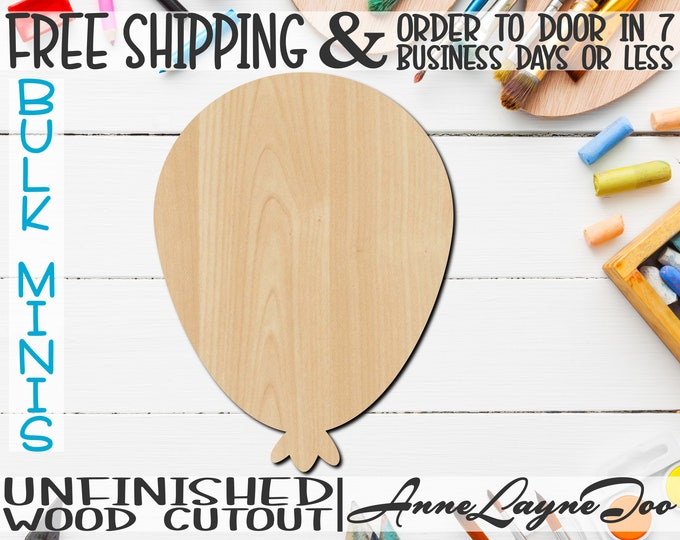 """Balloon, 2"""" to 6"""" Minis, Small Wood Cutout, unfinished, wood cutout, wood craft, laser cut shape, wood cut out, ornament -300049"""