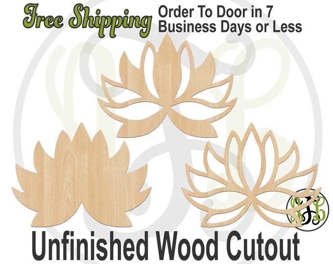 Lotus Flower Solid, Pattern, orOutline-300212-14- Flower Cutout, unfinished, wood cutout, wooden, laser cut shape, wood cut out, Door Hanger
