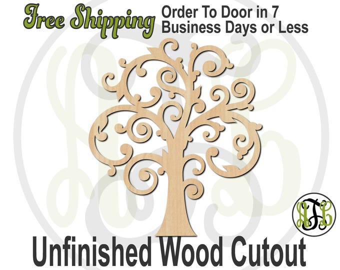 Scroll Tree - 300171- Nature Cutout, unfinished, wood cutout, wood craft, laser cut shape out, wood cut out, Door Hanger, Family Tree, blank