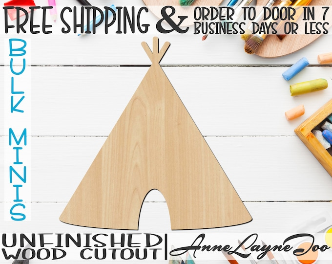 "Teepee- 3"" to 6"" Minis, Small Wood Cutout, unfinished, wood cutout, wood craft, laser cut shape, wood cut out, ornament -170020"