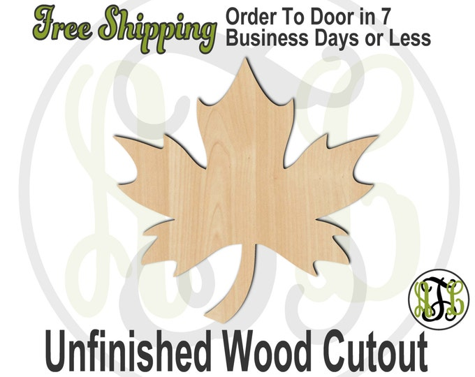 Leaf 1 - 220004- Fall Cutout, unfinished, wood cutout, wood craft, laser cut shape, wood cut out, Door Hanger, wooden, blank