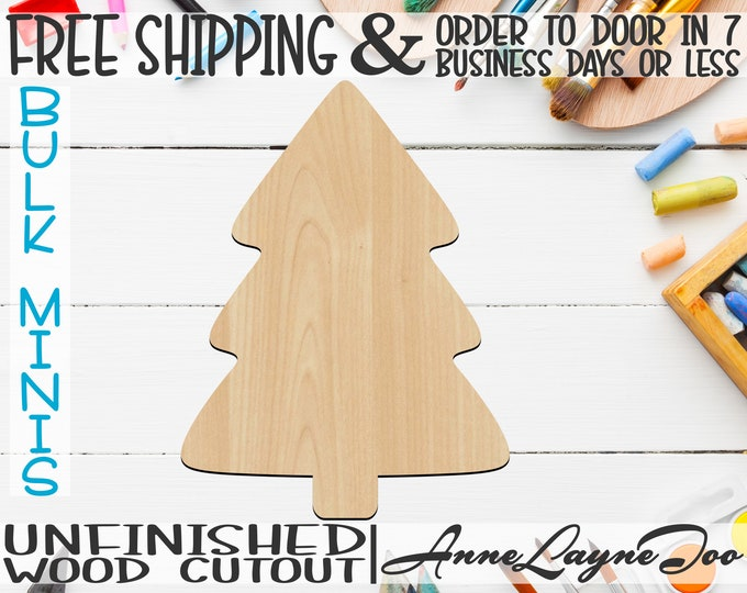 """Simple Christmas Tree, 2"""" to 6"""" Minis, Small Wood Cutout, unfinished, wood cutout, wood craft, laser cut, wood cut out, ornament -180050"""