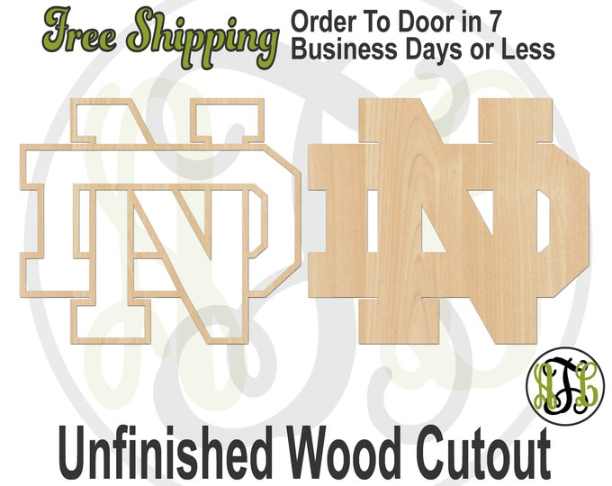 Interlocking N and D - 60191-92 - Sport Cutout, unfinished, wood cutout, wood craft, laser cut shape, wood cut out, Door Hanger, wooden