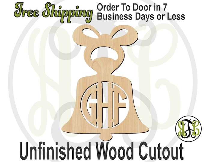 Bell - 180003M3- Christmas Personalized Cutout, 3-Letter Monogram , unfinished, wood cutout, wood craft, laser cut wood, wood cut out