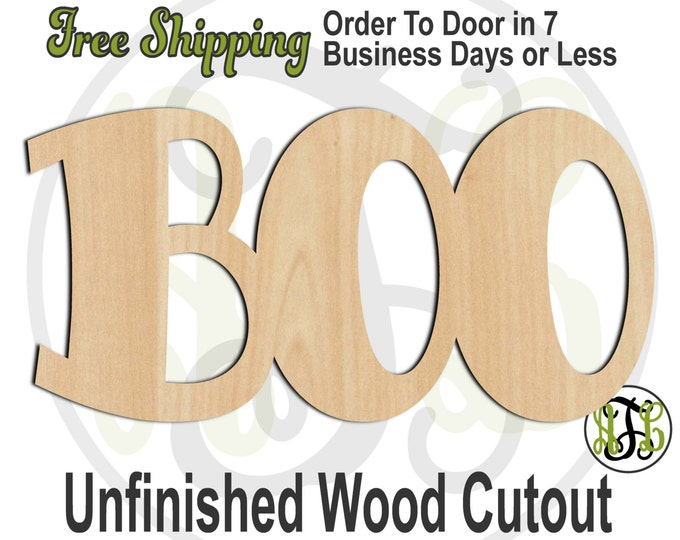 BOO 2 - 323001- Word Cutout, unfinished, wood cutout, wood craft, laser cut wood, wood cut out, Door Hanger, wooden sign, wall art