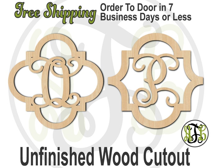 Quatrefoil Monogram Style 1 or 2 - 40046M1S1S2- Personalized Cutout, Initial, unfinished, wood cutout, wood craft, laser cut, wood cut out