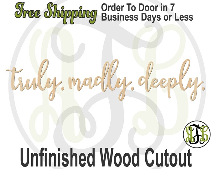truely. madly. deeply. Wall  Wall Phrase Cutout, laser cutout, wooden sign, wall phrase, wooden wall phrase, unfinished wood cutout - 325149