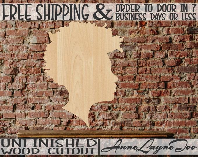 African American Man Wood Cutout, Male Profile Cutout, African American Male Door Hanger, unfinished, wood cut out, laser cut - 3300018