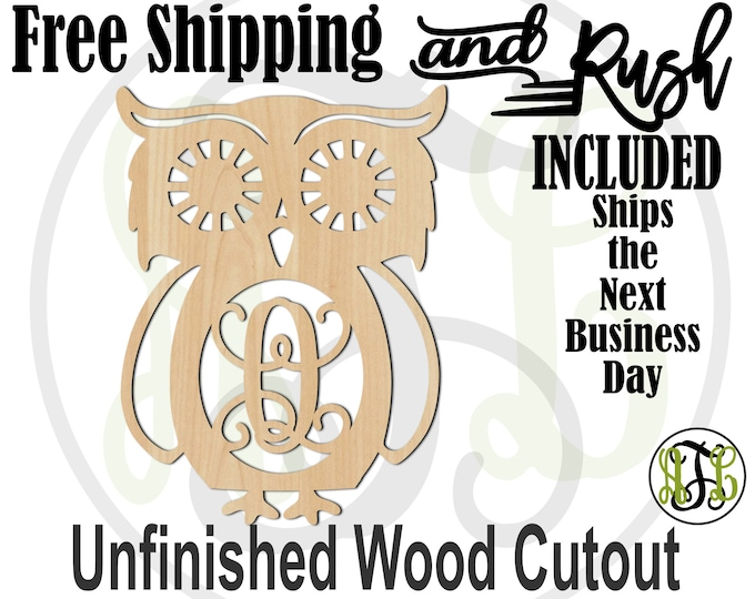 Retro Owl Monogram Wood Sign, Owl Initial Sign, Owl Door Hanger, unfinished, wood cut out, laser cut -230100M1- RUSH PRODUCTION