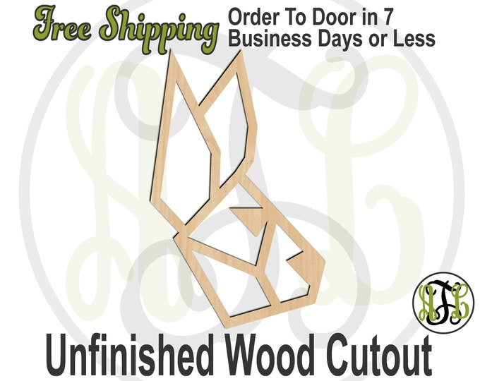 Geometric Rabbit Head - 480004- Animal Cutout, unfinished, wood cutout, wood craft, laser cut shape, wood cut out, Door Hanger, DIY, wooden